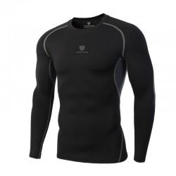 Camisa Compressa Termica Esporte Preta Treino Manga Longa Masculina