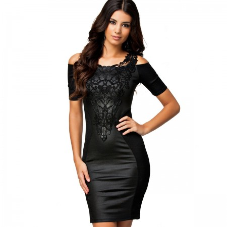 Elegant Short Medium Black Dress with resinated finish