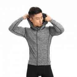 Men's Training Hooded Sweatshirt Gray Zip Hooded Long Sleeve