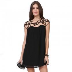 Vestido Casual Preto Inovador Moda Feminina Verão