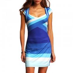 Vestido Azul Listrado Casual Curto de Trabalho Diário