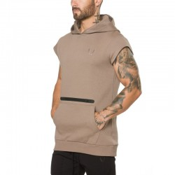 Men's Casual Tank Top Casual Fitness Hooded with Kangaroo Pocket