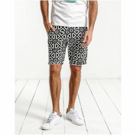 Bermuda Casual Mens Print Black and White Fashion Beach Summer