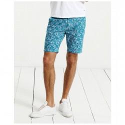 Bermuda Curta Masculino Estampada Azul E Branco Casual Moda Praia