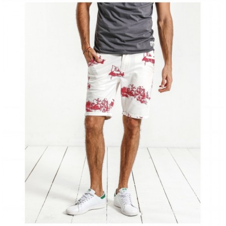 Men's Casual Bermuda Print White and Red Beach Fashion