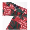 Bermuda Curta Masculina Casual Estampada Verde e Vermelho Floral