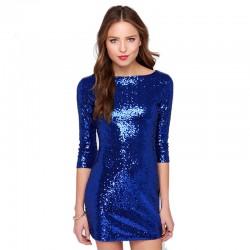 Vestido Brilhante Azul Festa Curto alta Custura Glamour