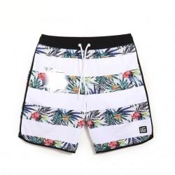 Short Tactel Masculino Listrado Moda Praia Estampa Floral Tropical