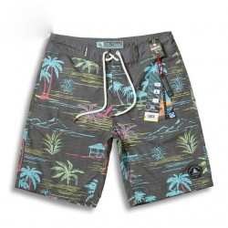 Bermuda Trade Fairs Tactel Gray Tropical Print Above the Knee Man