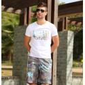 Bermuda de Ferias Tactel Estampa Tropical Cinza Acima do Joelho Homem