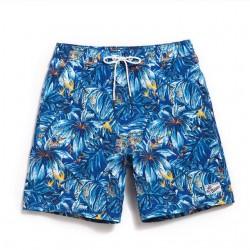 Bermuda Surfe Moda Praia Masculina Estampada Floral Azul Linda