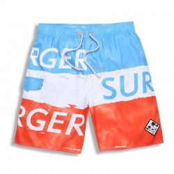 Bermuda Men's Striped Surfing Beachwear Orange and Blue