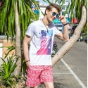 Men's Short Short Red Printed Beach above the knee