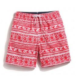Short Masculino Curto Praia Estampada Vermelha acima do joelho