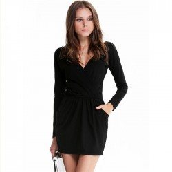 Short Black Sleeveless Dress Working Winter Long