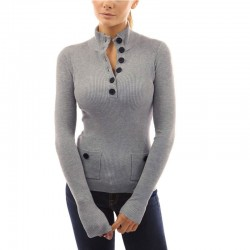 Winter Blouse Women Wool Long Sleeve Women Button