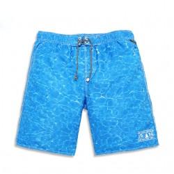 Calção de Banho Masculino Texturizado Água Azul Claro Moda Verão