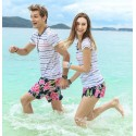 Short Chronic Male Casual Floral Pattern Pink Colorful Flowers