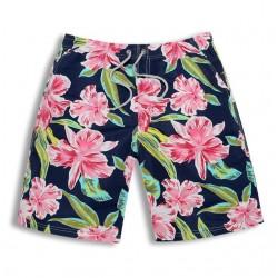 Short Chronic Masculino Casual Estampa Floral Flores Rosa Colorida