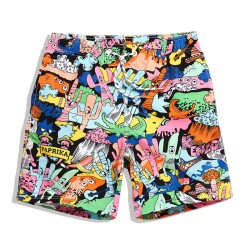 Short Patterned Cartoon Drawings Abstract Colorful Male Casual