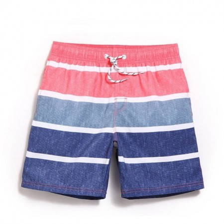 Bermuda Casual Striped Comfortable Beach Male Above Knee