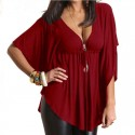 Blouse Plus Size Ladies Fashion Casual Black, red and green