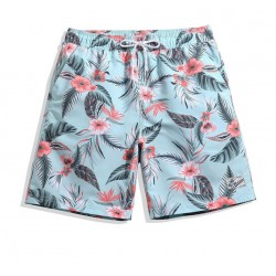 Short Masculino Estampado Floral Confortavel Ajustavel Casual Praia