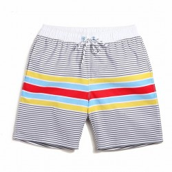 Short White Striped Casual Male Beach Clean Style