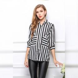 Camisa Listrada Feminina Formal Elegante Moderno Preto e Branco