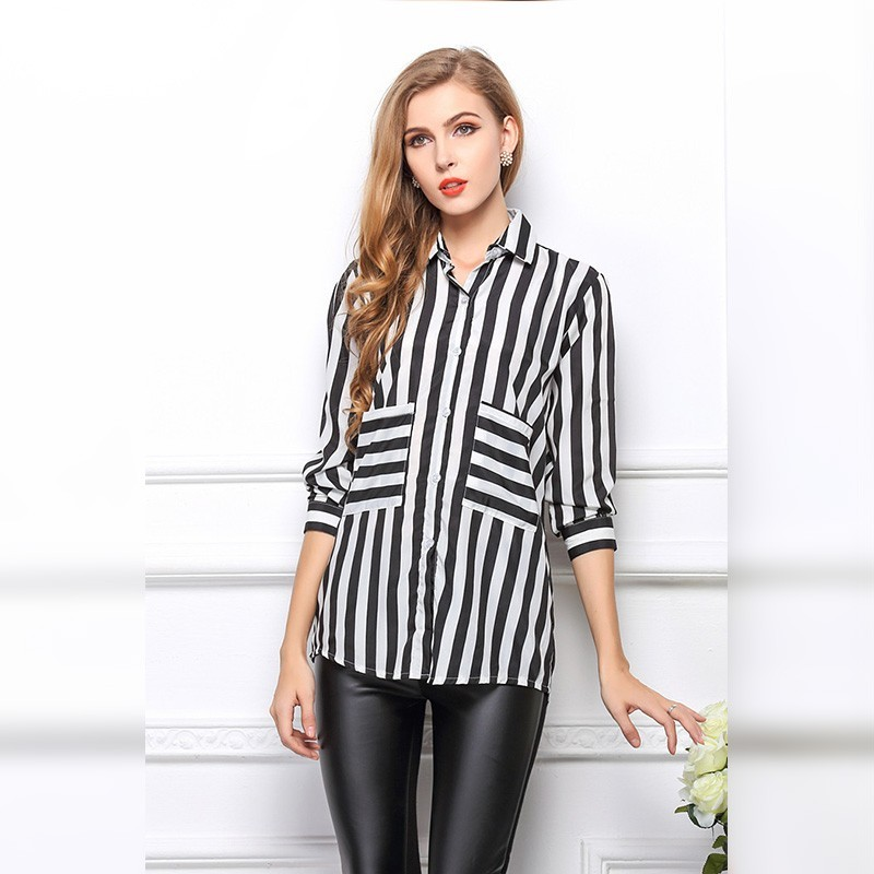 Camisa Listrada Feminina Formal Elegante Moderno Preto e Branco 6280236602