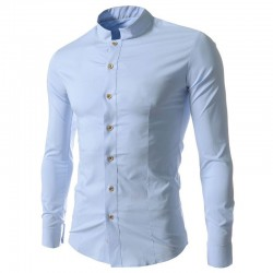 Shirt Casual Elegant Men's Long Sleeve