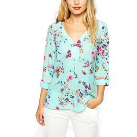Blue Floral Blouse Casual Women Sleeveless Summer Long