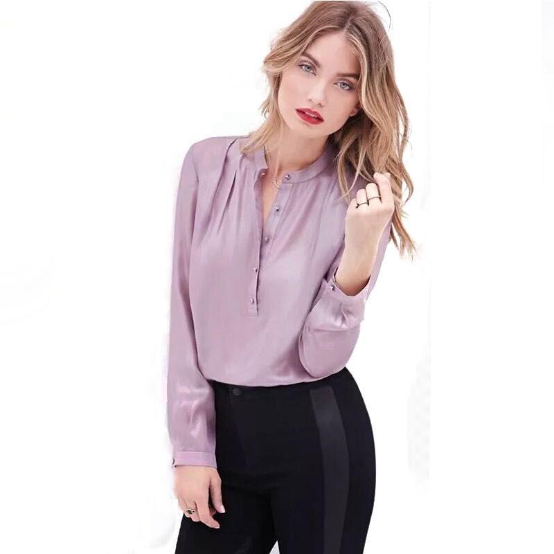 Camisa Social Moda Feminina Lilas de Trabalho Manga Longa Formal 632d728c1cdb7