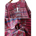 Blusa Comprida Barroca Estampada Rosa Manga Longa Feminina