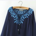 Blouse Casual Embroidery Casual Female White and Blue