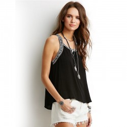 Blouse Casual Linen Female Black and White Summer