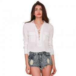 Blouse Women White Adventure with Modern Pockets