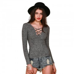 Winter Blouse Women Grey and Black pullovers