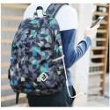 Backpack with Internal Battery Stamped Unisex Geometrica Casual Modern