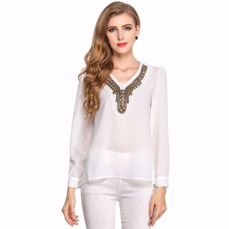 Blouse Ladies Women Casual White and Black Work