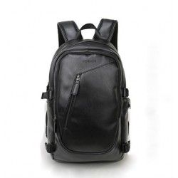 Men's Black Work Backpack Stylish Waterproof Leather