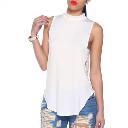 Blusa Casual Básica Branca e Preto Aberto Estilo Verão Feminino