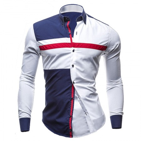 Shirt Casual Sports Youth White and Blue
