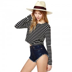 Blouse Black Striped Long Sleeve Shirt Style Top T Fashion