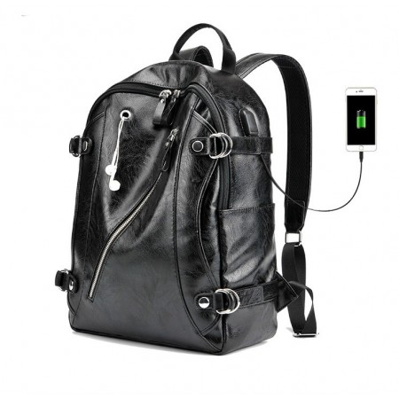 Backpack for Notebook University Funky Adventure Leather Do not Wet