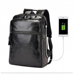 Mochila Preta de Negocios Masculina Couro Sofisticada Slim USB Bateria