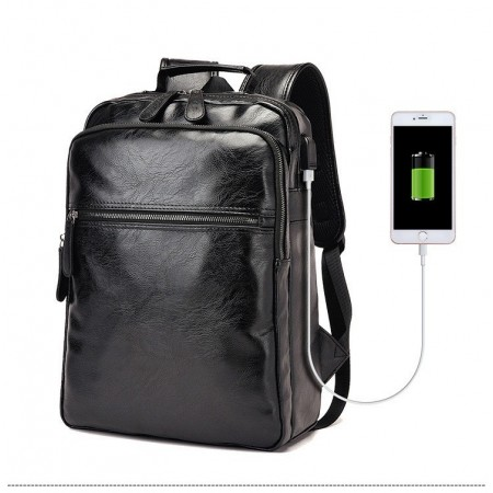 Men's Business Black Backpack Sophisticated Leather Slim USB Battery