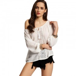 Blouse Casual Beach White Women's Lace Long Sleeve