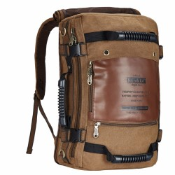 2/1 Large Travel Bag & Backpack Adventure Retro Brown Jeans