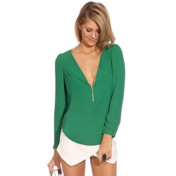 Women Chiffon Blouse Long Sleeve Work and Casual